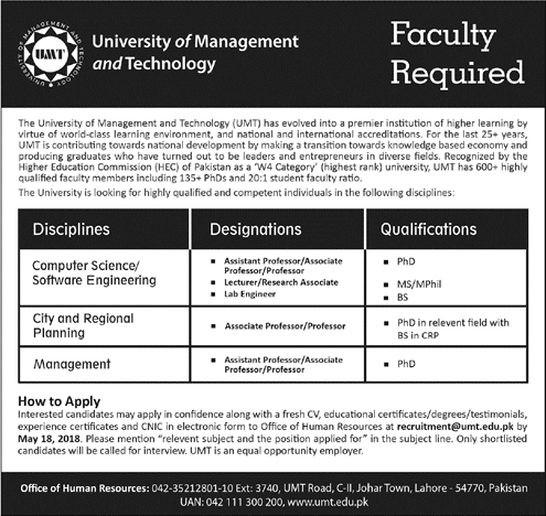 University Of Management And Technology Career Opportunity | Jobs 2018 in Lahore on May, 2018 | Education Department