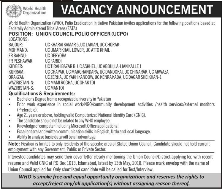 World Health Organization Career Opportunity as Union Council Polio Officer | Jobs 2018-thumbnail