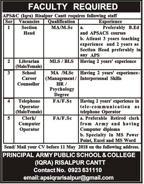 Army Public School & College Risalpur Cannt Latest Jobs 2018-thumbnail