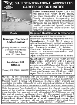 Sialkot International Airport Latest Jobs 2018 in Punjab on May, 2018 | Airlines