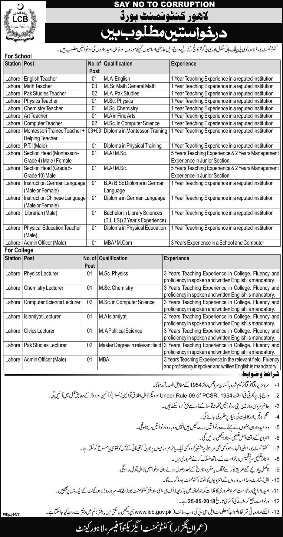 Lahore Contentment Board Latest Jobs 2018 in Lahore on May, 2018 | Education Department