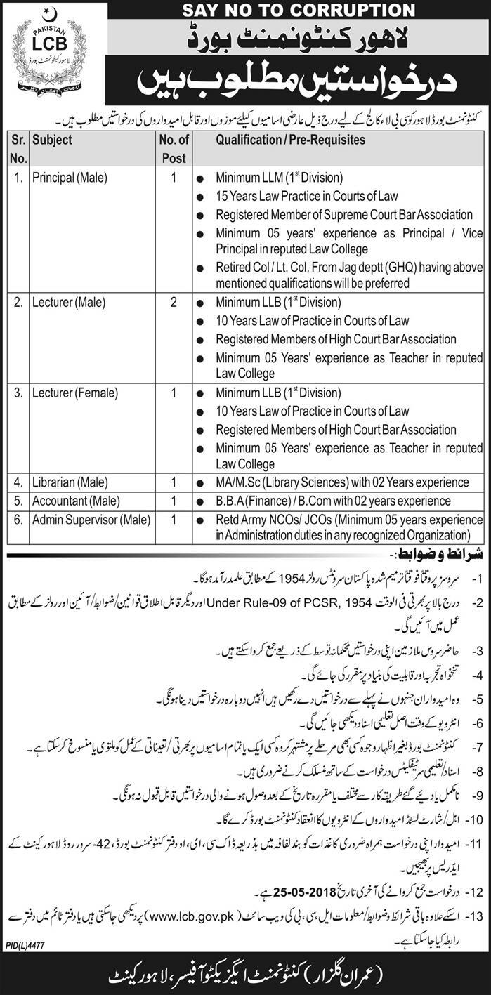 Contentment Board Lahore Jobs for CB Law College -thumbnail