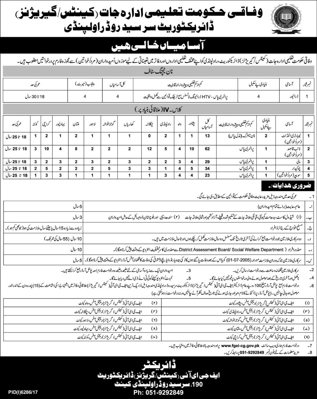 Federal Government Educational Departments Non Teaching Latest Jobs 2018 in All over in Pakistan on May, 2018 | Federal Government