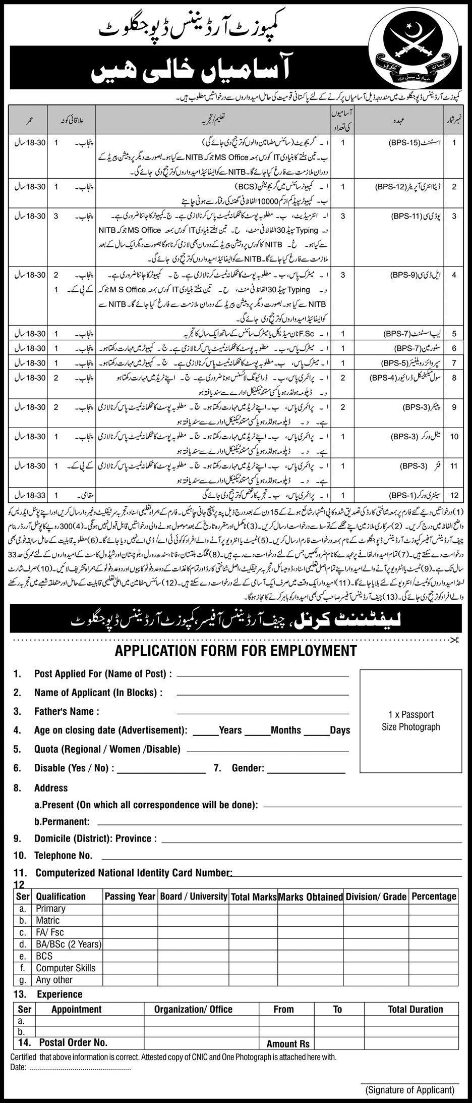 Composite Ordinance Depot Jagoot Pak Army Latest Jobs 2018 in Punjab on May, 2018 | Pakistan Army