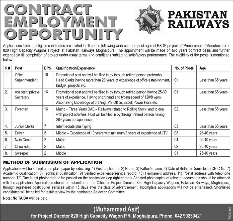 Pakistan Railway Employment Opportunity Government Latest Jobs 2018 in All over in Pakistan on May, 2018 | Government