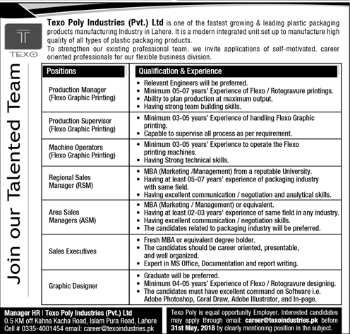 Texo Poly Industries Pvt Ltd Latest Jobs 2018 in Lahore on May, 2018 | Private