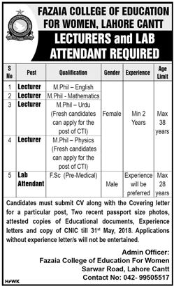 Fazaia College of Education For Women Lahore Cantt Latest Jobs 2018-thumbnail