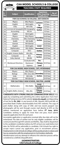 CAA Model Schools and College Teaching Staff Required Apply online Nts-thumbnail