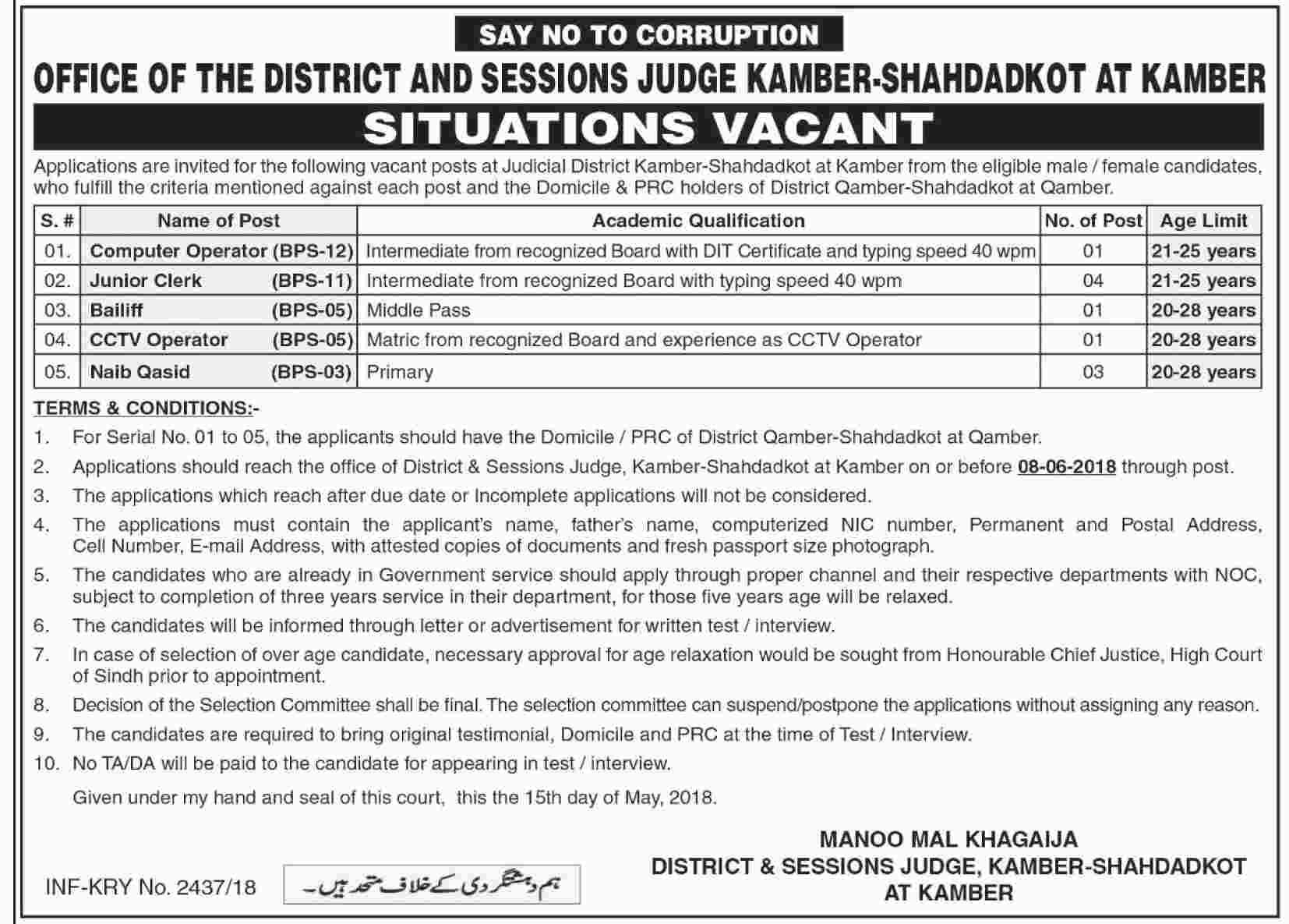 District and Session Judge Kamber Shahdadkot Latest Jobs 2018-thumbnail