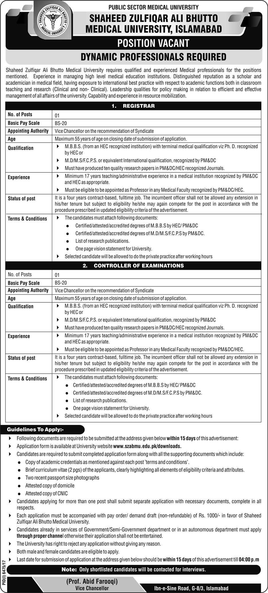Shaheed Zulifqar Ali Bhutto Medical University Islamabad Latest Jobs 2018 in Islamabad on May, 2018 | Education Department