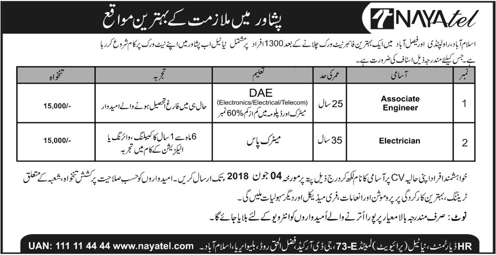 Naya Tel Pvt Limited Kpk Latest Jobs 2018 in KPK on May, 2018 | Private