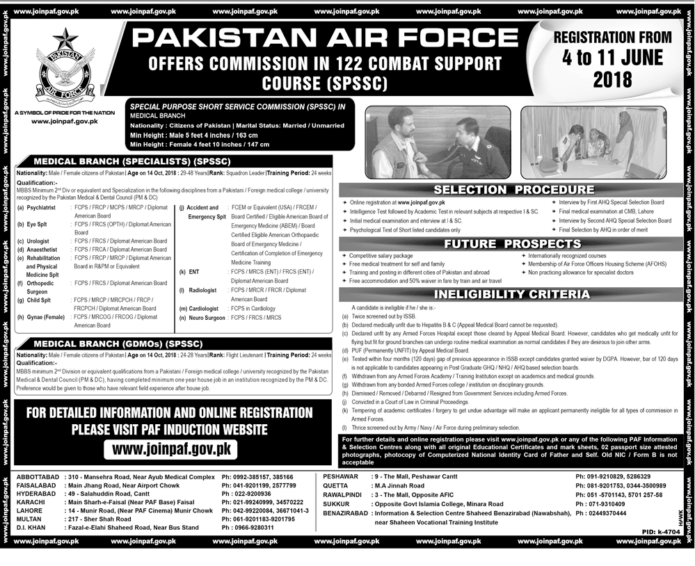Join Pak Airforce as Commission In 122 Combat Support Course Latest Jobs 2018