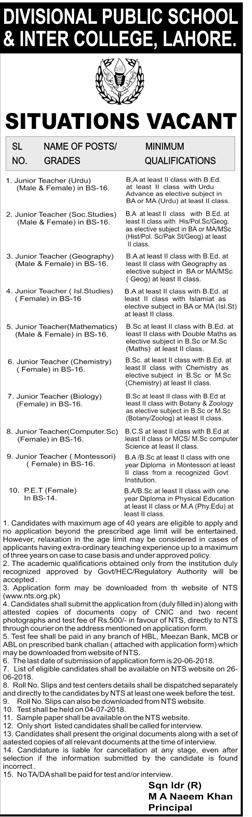 Divisional Public School & Inter Colleges Lahore NtsLatest Jobs 2018-thumbnail