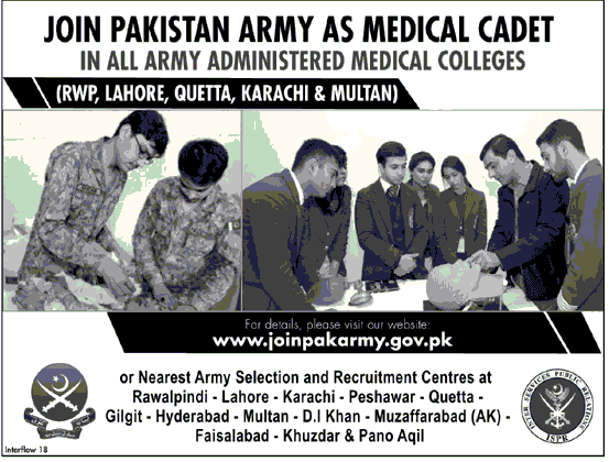 Join Pakistan Army as Medical Cadet in Army Administrated Medical Colleges Latest Jobs 2018-thumbnail