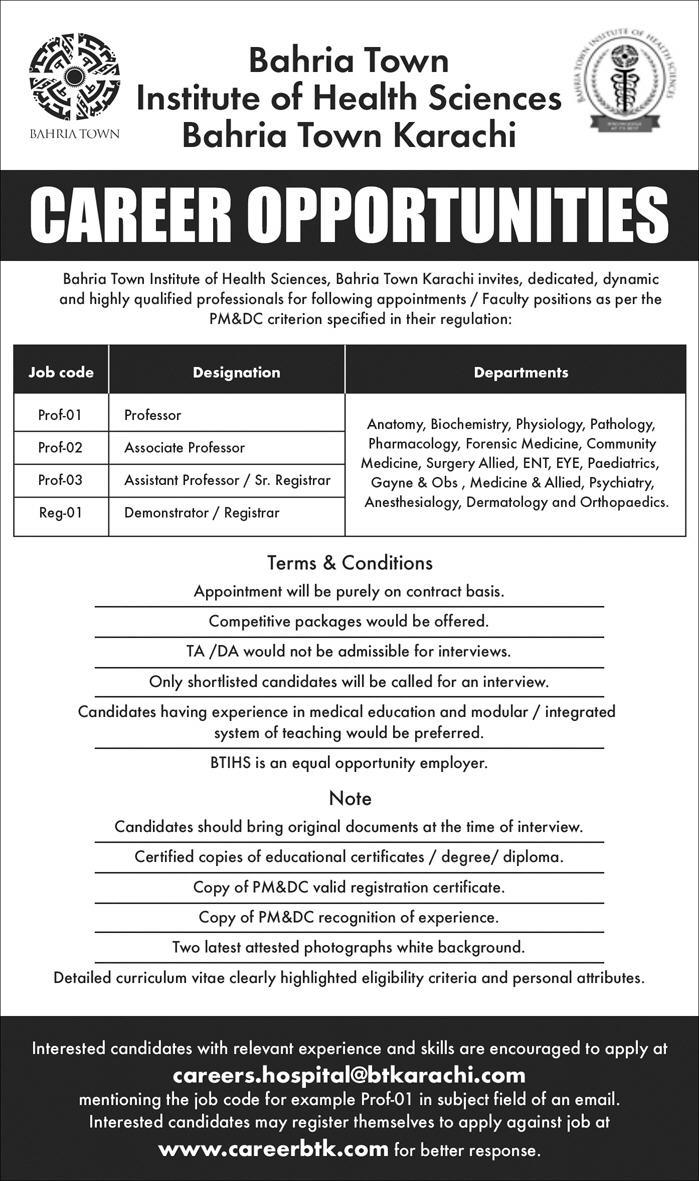 Bahria Town Institute of Health Sciences Bahria Town karachi Latest Jobs 2018-thumbnail