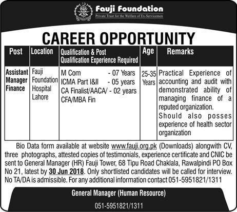 Fauji Foundation Career Opportunity 2018-thumbnail