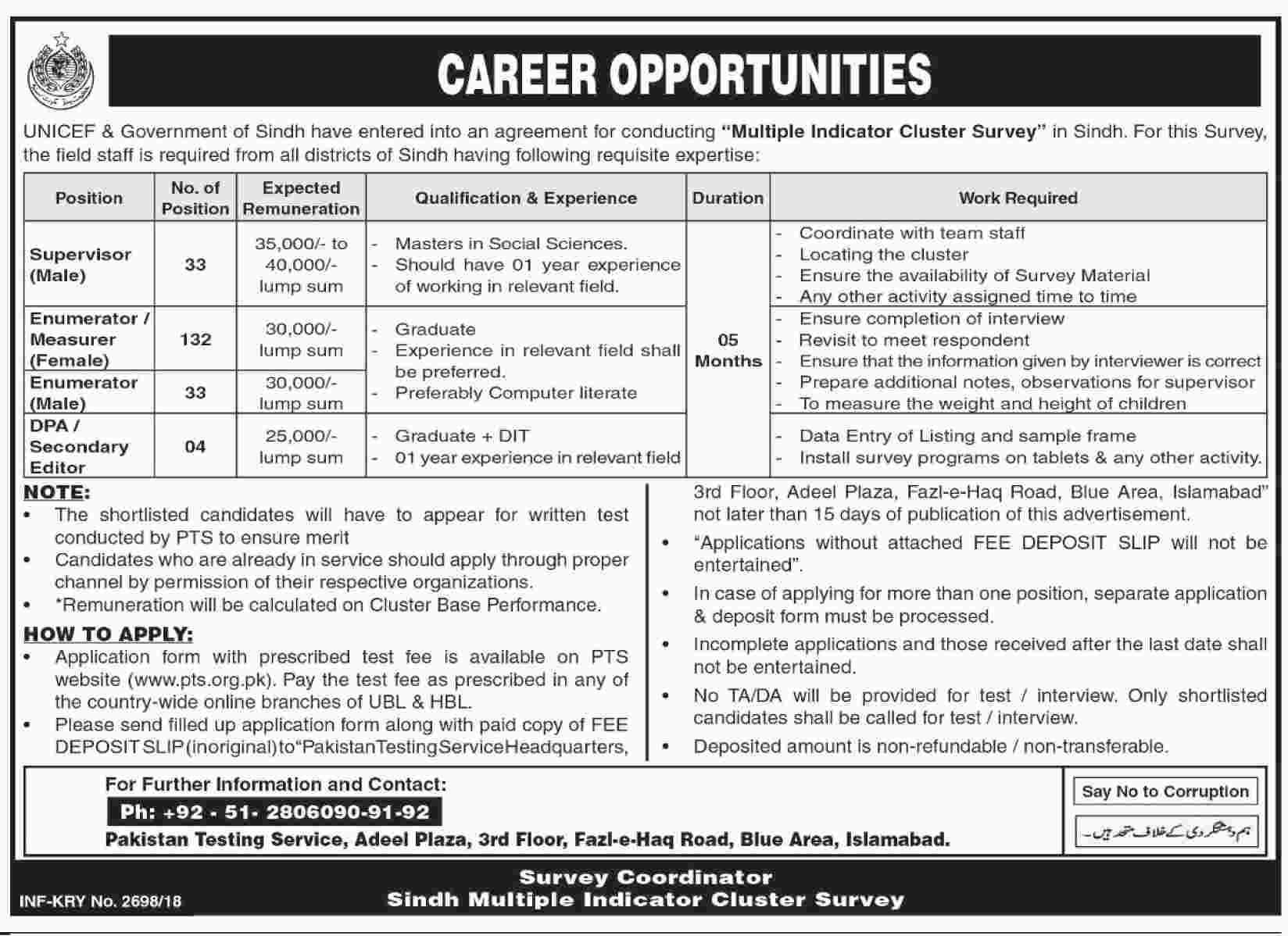 UNICEF & Government Sindh multiple indicator survey Cluster Survey latest jobs 2018-thumbnail