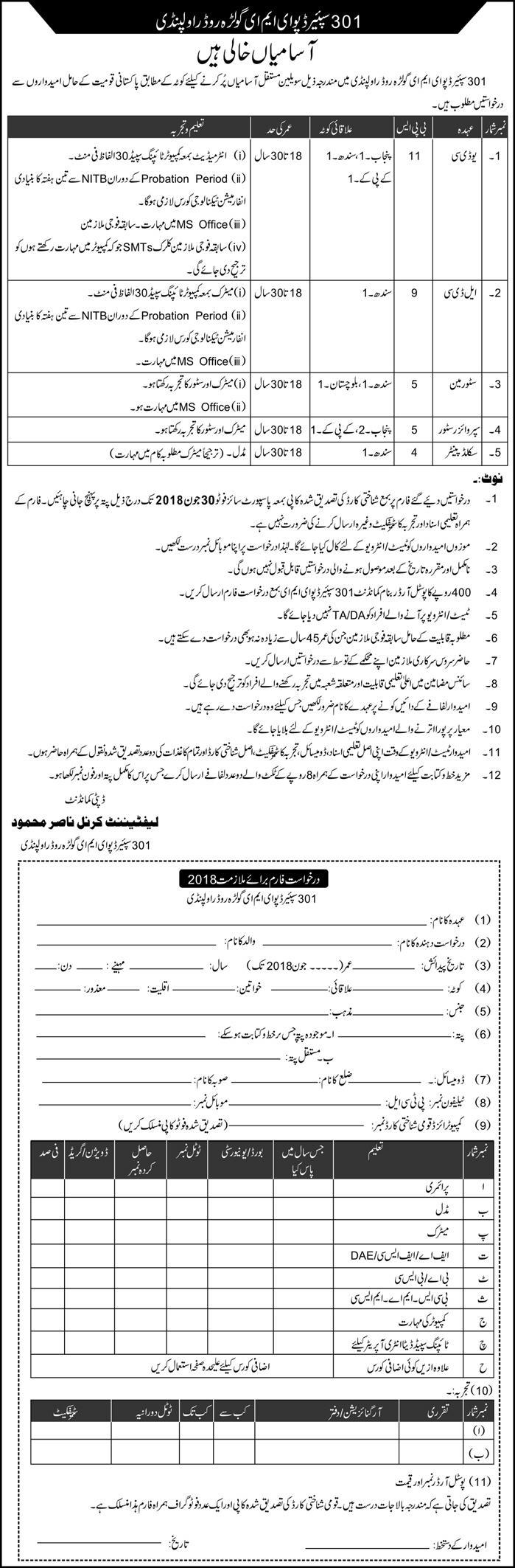 Join Army as civilian 301 spear Depot EME Rawalpindi Latest Jobs 2018-thumbnail