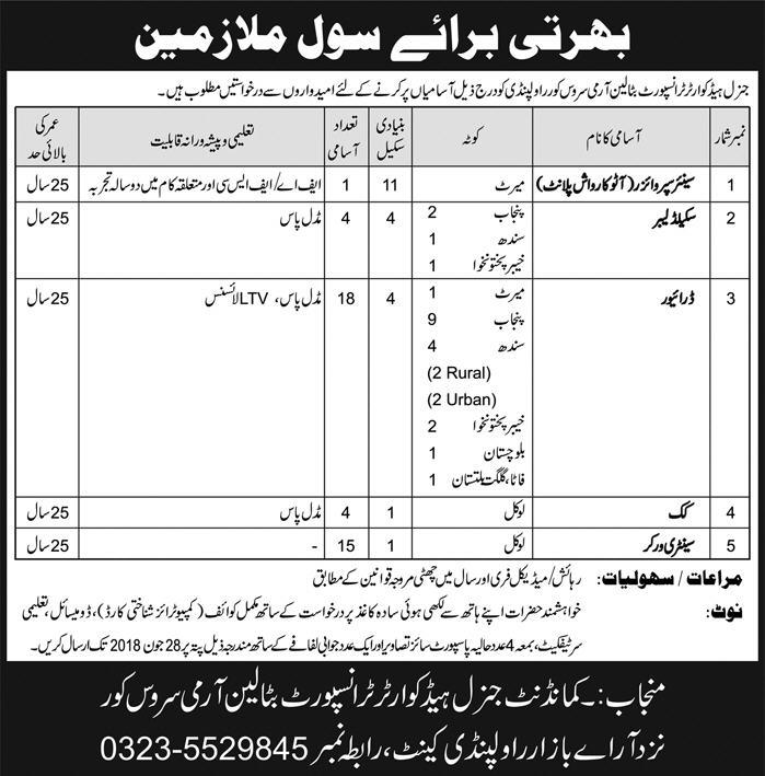 Join Army as civilian General Headquarter Transport Army service Latest Jobs 2018-thumbnail