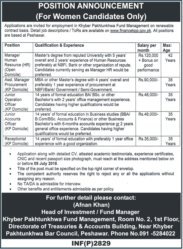 Khyber Pakhtunkhwa Fund Management Department Latest Jobs 2018 for Female Only-thumbnail