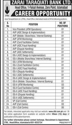 Zarai Taraqiati Bank Limited Latest Jobs 2018 Apply online ztbl.com.pk-thumbnail