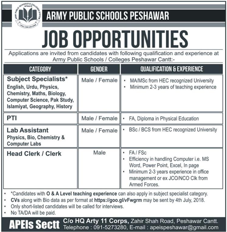 Teaching Staff Required Army Public School Peshawar Latest Jobs 2018  in peshawar on June, 2018 | Education Department
