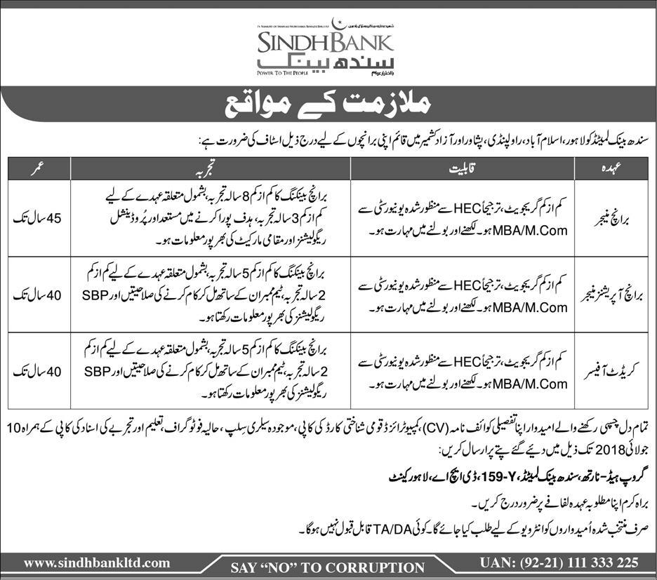 Sindh Bank Limited Latest Jobs 2018 in Pakistan -thumbnail