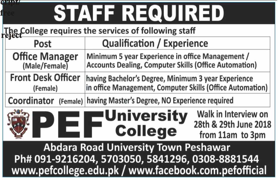 PEF University College Peshawar Required Faculty Latest Jobs 2018