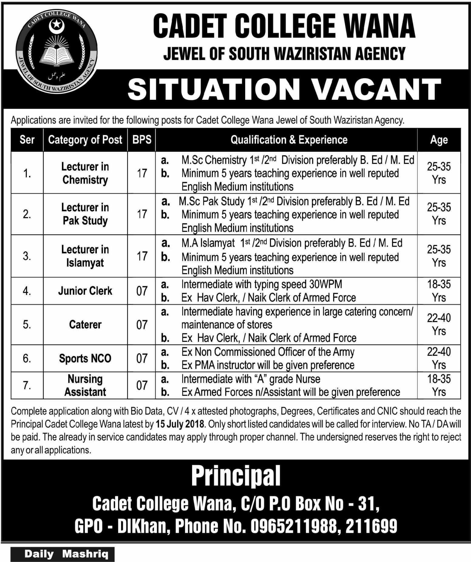 Cadet College Wana Jewel of South wazirstan Agency Latest Jobs 2018 Pakistan-thumbnail