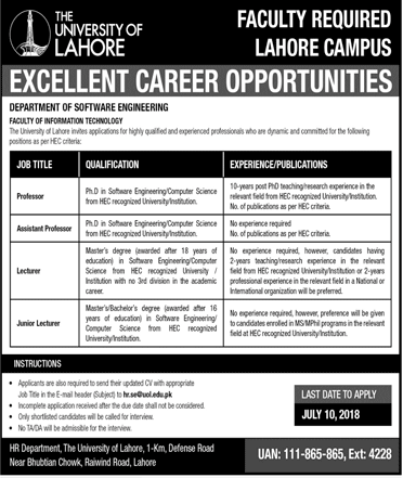 The University Of Lahore Lahore Campus Latest Jobs 2018 in Lahore on July, 2018 | Education Department