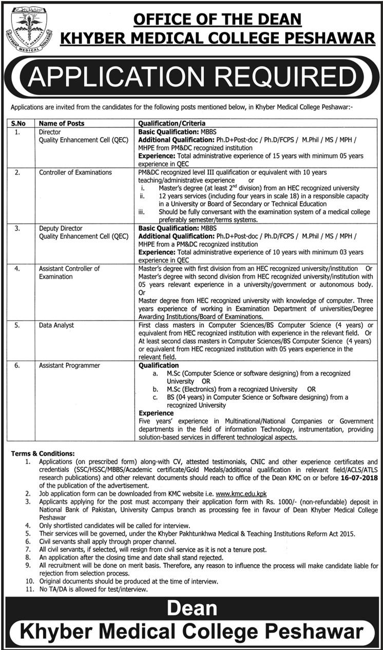 Khyber Medical College Peshawar Latest Jobs 2018-thumbnail