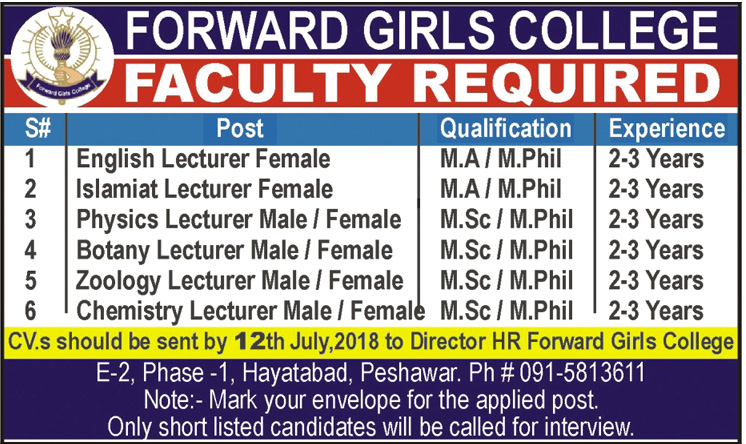 Forward Girls College Faculty Required Latest Jobs 2018  in KPK on July, 2018 | Education Department