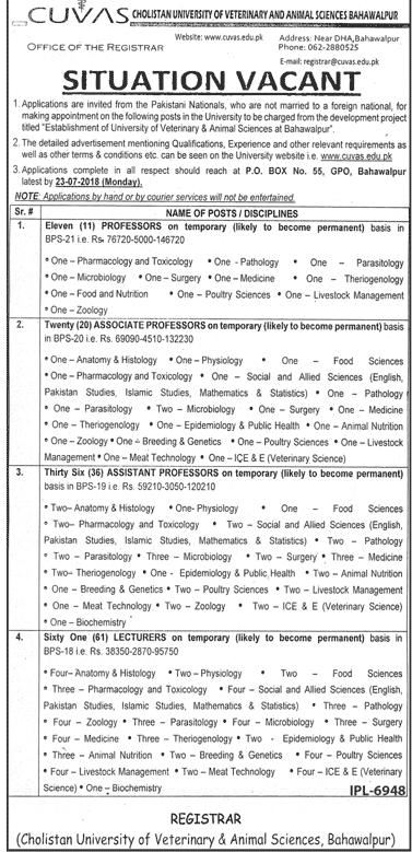 CUVAS- Cholistan University of Veterinary & Animal Science Bahawalpur Latest Jobs 2018 -thumbnail