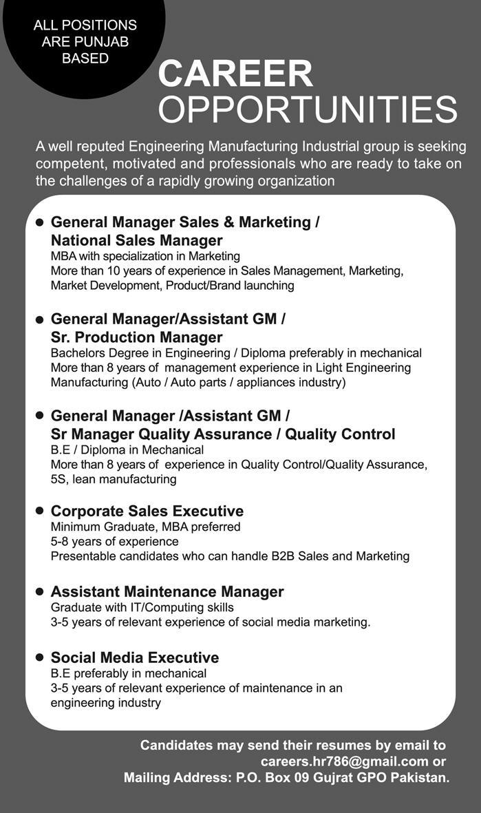 Engineering Manufacturing Industrial Group Latest Jobs 2018 -thumbnail