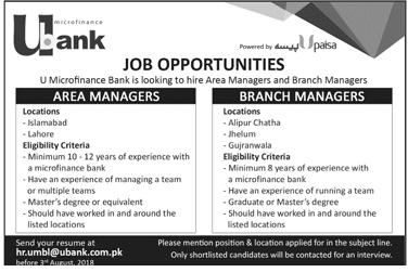Bank Career Opportunity U Bank Latest Jobs 2018 Pakistan-thumbnail