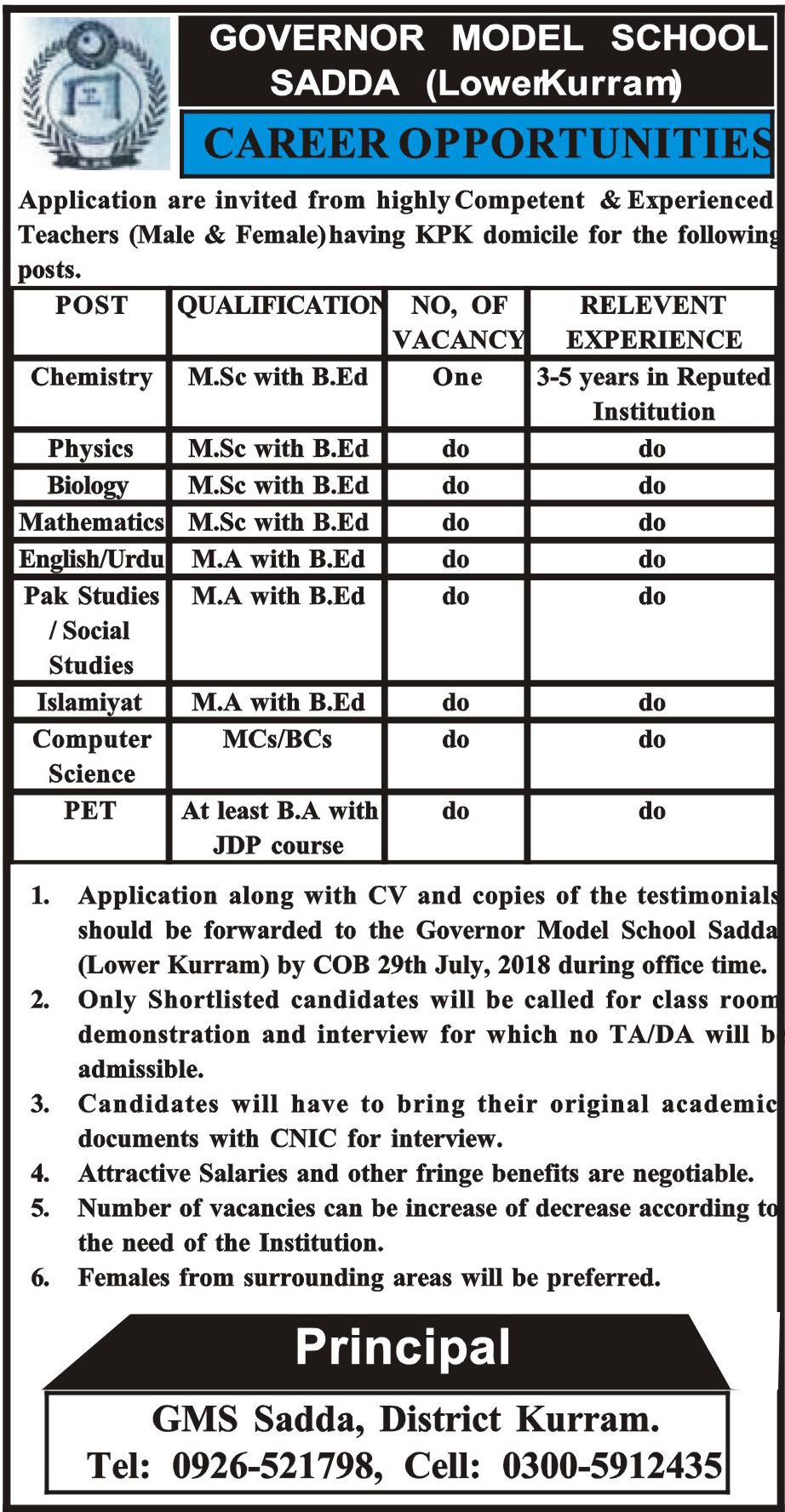 Career Opportunity Governor Model School Latest Jobs 2018 Kpk in KPK on July, 2018 | Education Department