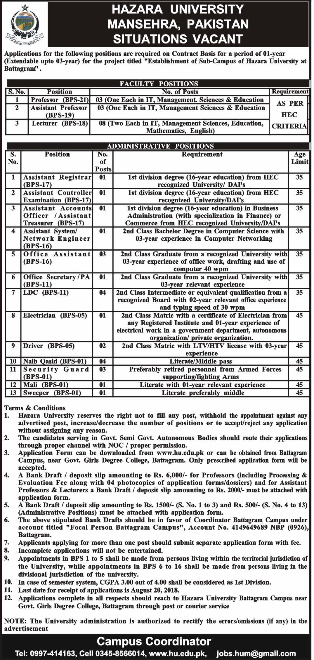 hazara university mansehra latest jobs 2018 kpk pakistan