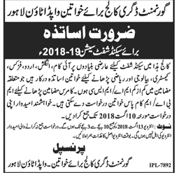 Government Degree College For Women Wapda Town Lahore Latest Jobs 2018 Teaching Jobs in Lahore on August, 2018 | Government
