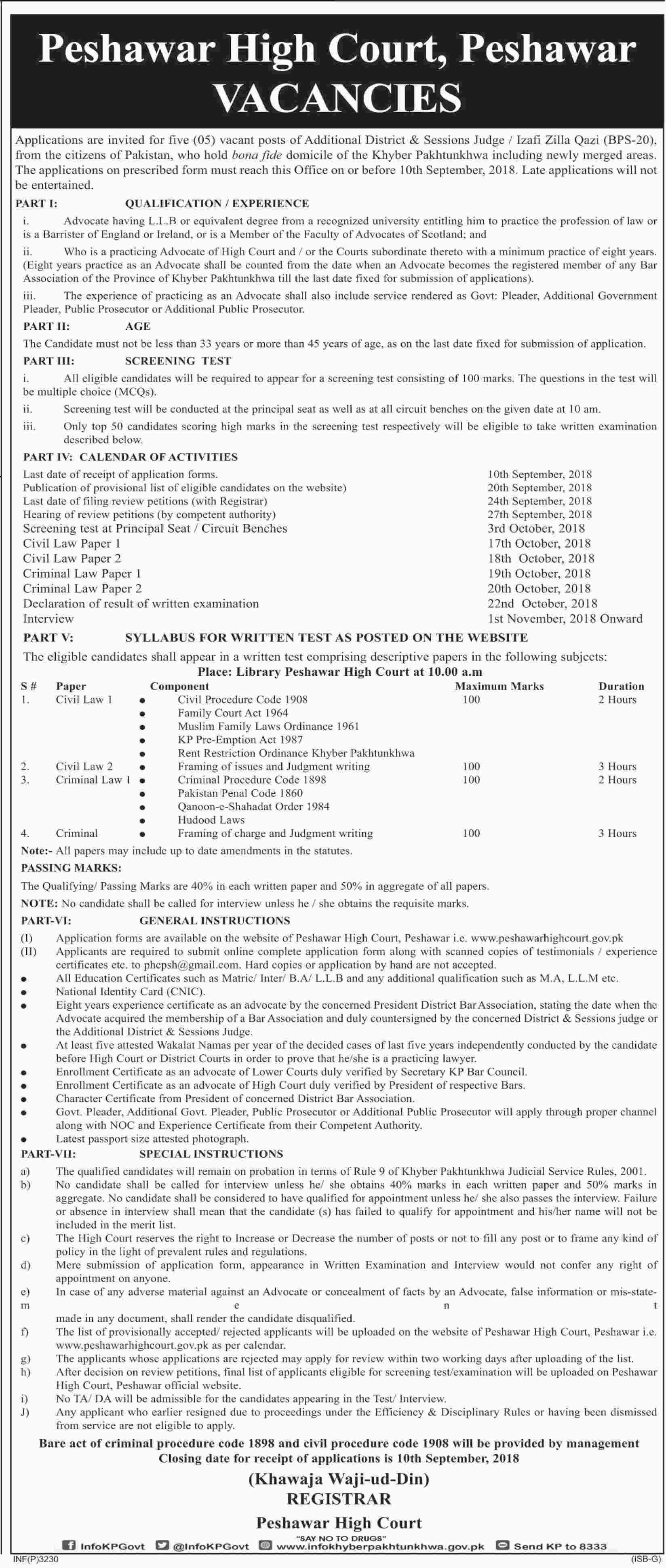 Peshawar High Court Additional District & Sessions Judge Latest Jobs 2018 KPK -thumbnail