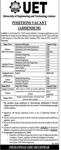 UET University of Engineering and Technology Latest Jobs 2018 -thumbnail