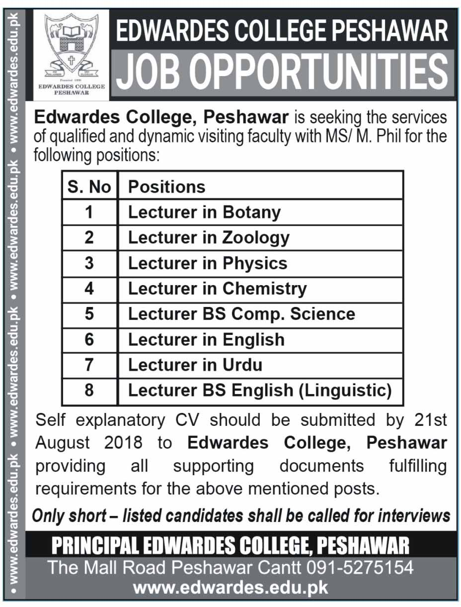 Lecturer Required in Edwardes College Peshawar Latest Jobs 2018 teaching jobs-thumbnail