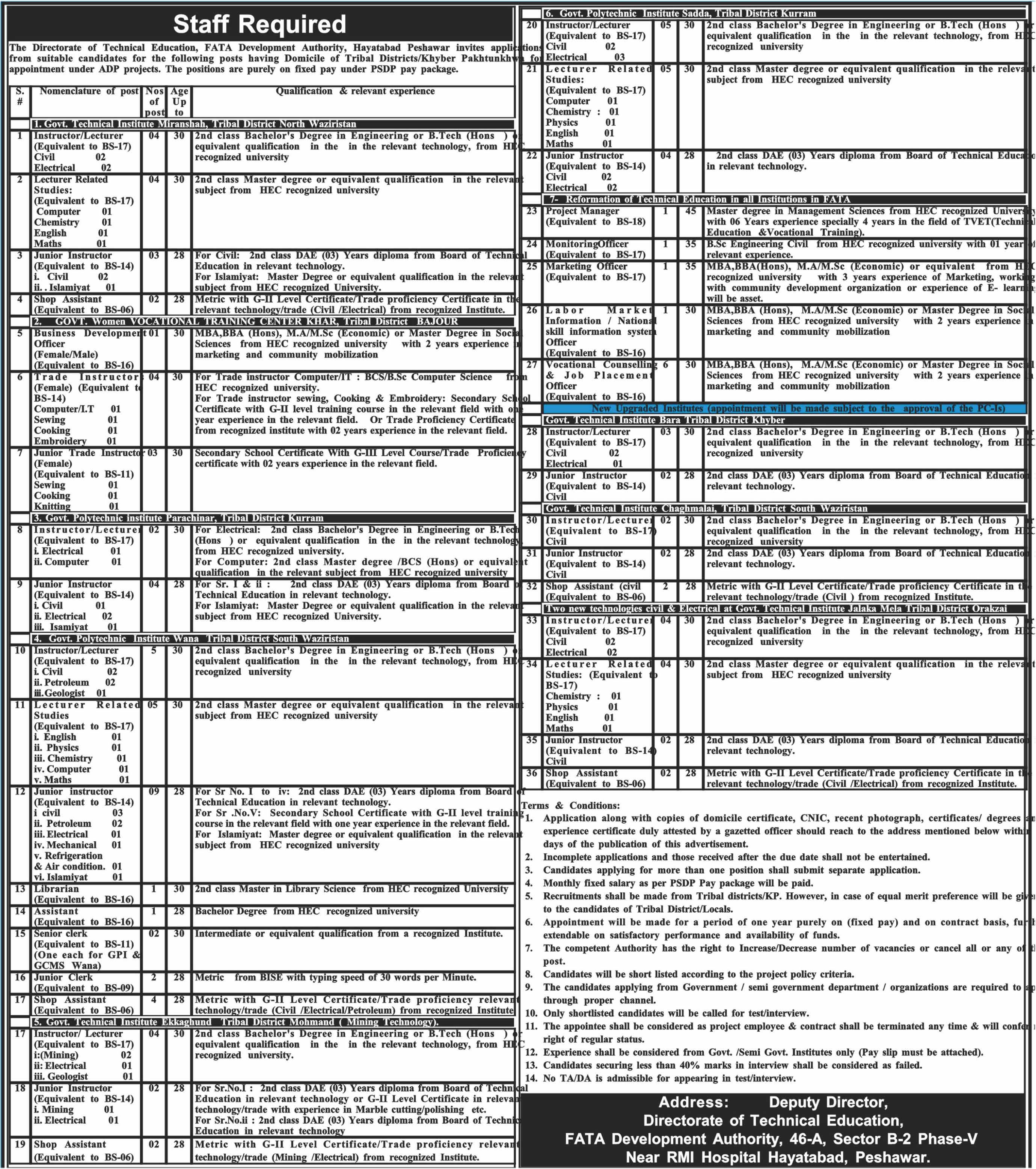 Directorate of Technical Education Kpk and Fata Latest Jobs 2018 -thumbnail
