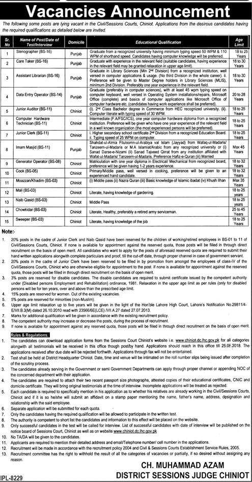 Civil Session Courts Chiniot Latest Jobs 2018 Government Pakistan-thumbnail