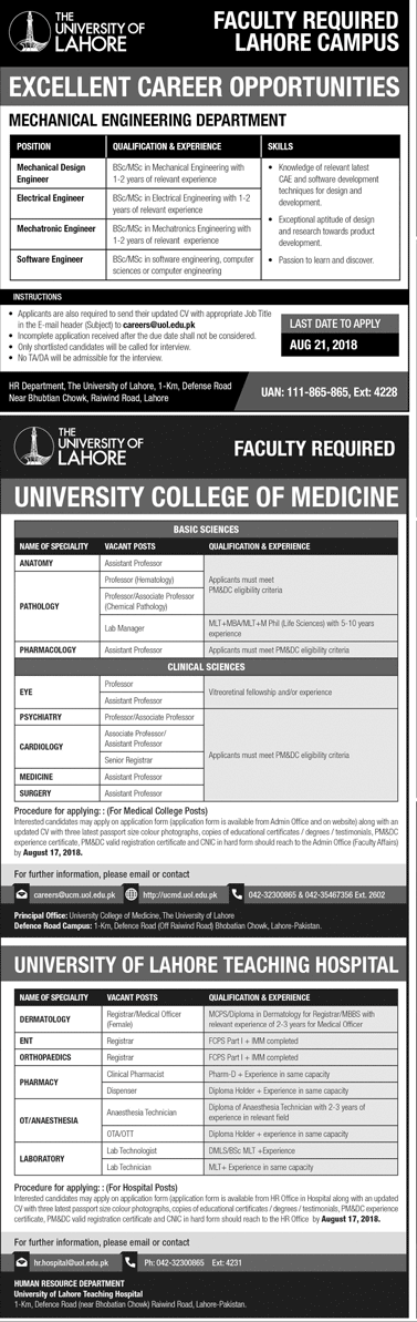 UOL University Of Lahore Latest Jobs 2018 Teaching Jobs in Lahore on August, 2018 | Private