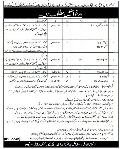 Govt DHQ Teaching Hospital Mola Bakhas Sargodha Latest Jobs 2018 Government Jobs-thumbnail