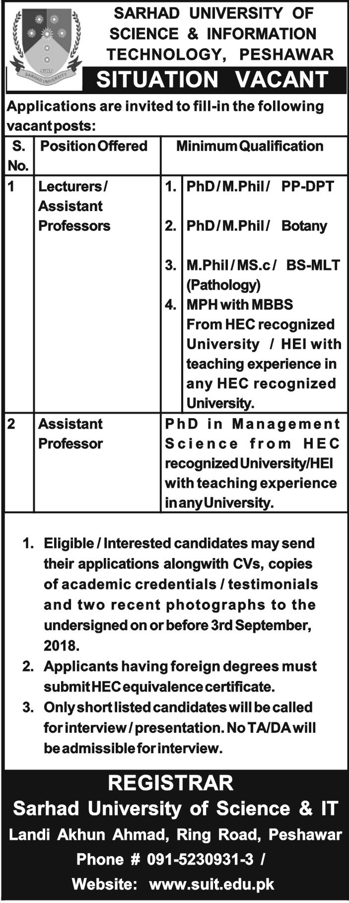 Sarhad University of science and Information Technology Peshawar Latest Jobs 2018 -thumbnail