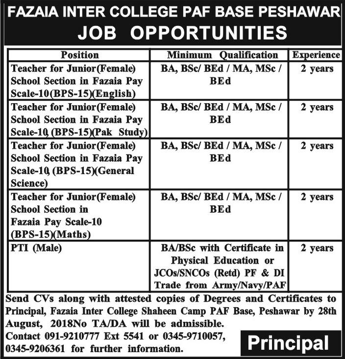 PAF Fazaia Inter College Peshawar Latest Jobs 2018 KPK-thumbnail