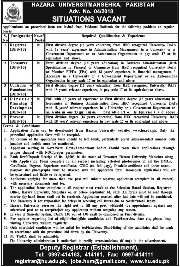 Hazara University Mansehra Pakistan Latest Jobs 2018 KPK-thumbnail