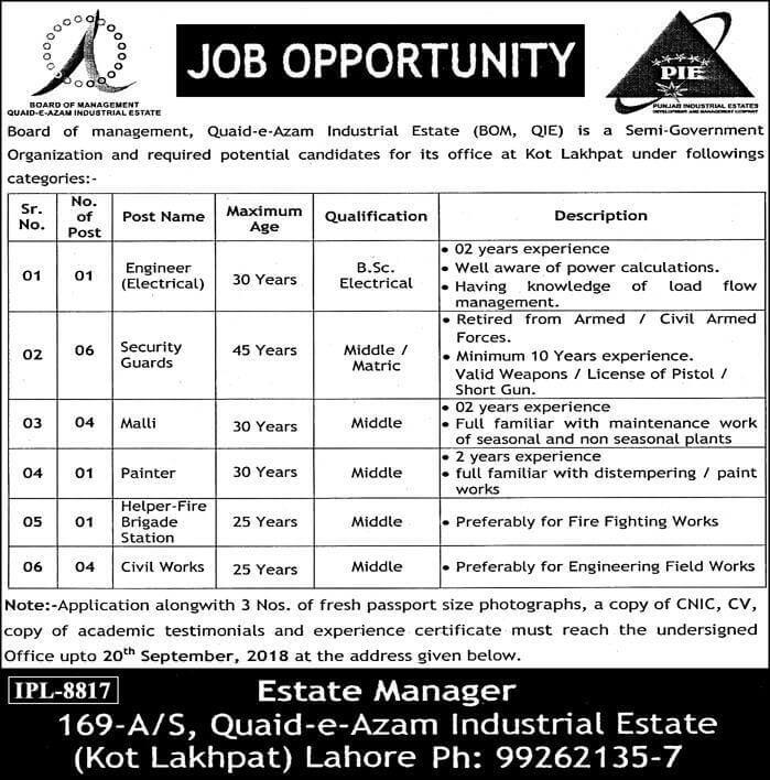 Quaid Azam Industrial Estate Lahore Latest Jobs 2018 -thumbnail