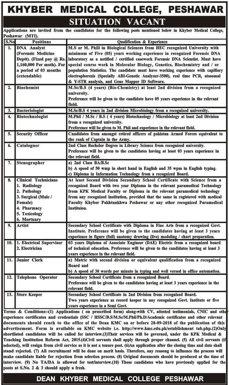 Khyber Medical College Peshawar Latest Jobs 2018 Kpk in KPK on September, 2018 | Government